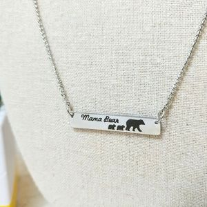 Mama Bear 2 Kids Bar Necklace Gift For Mom Silver